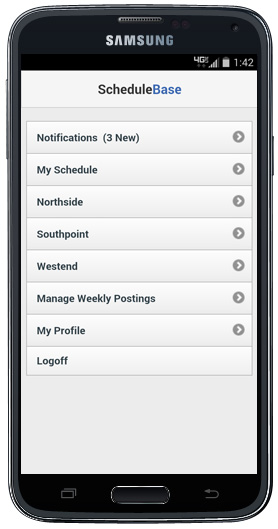 Online Employee Scheduling on a Mobile Phone